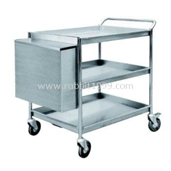 STAINLESS STEEL 3 TIERS TROLLEY c/w hanging bin