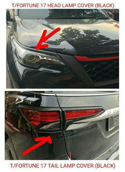 fortuner 2017 Headlamp cover &Taillamp cover(Black)