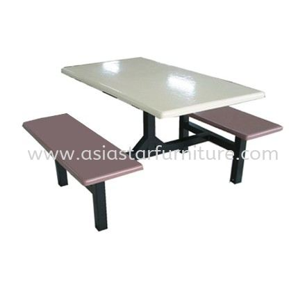 4 SEATER FIBREGLASS TABLE WITH BENCH (GREY)