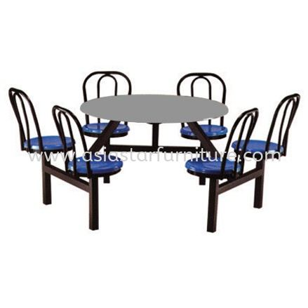 6 SEATER ROUND FIBREGLASS TABLE WITH BACKREST- canteen table jaya one | canteen table uptown pj | canteen table taman maluri