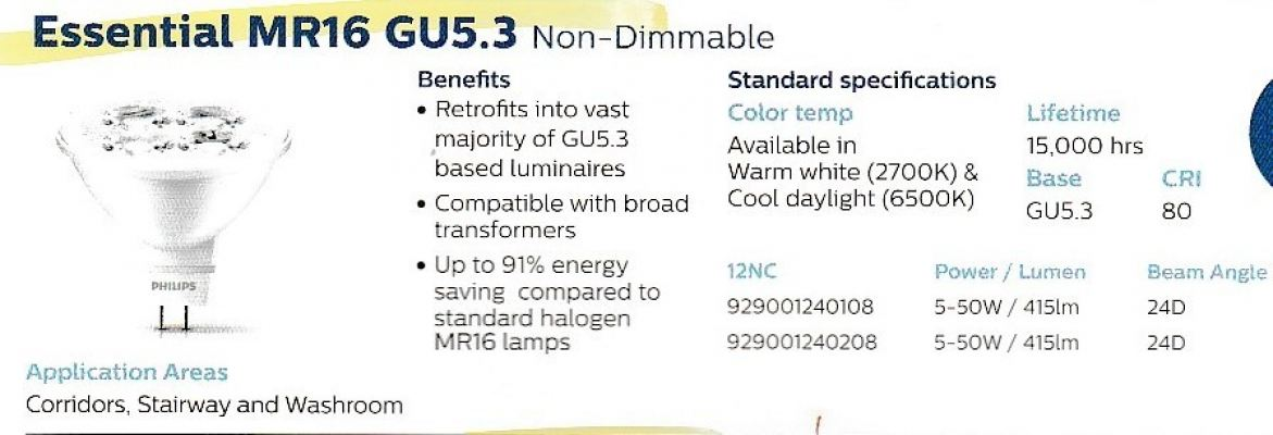 Essential MR16 GU5.3 (Non-Dimmable)
