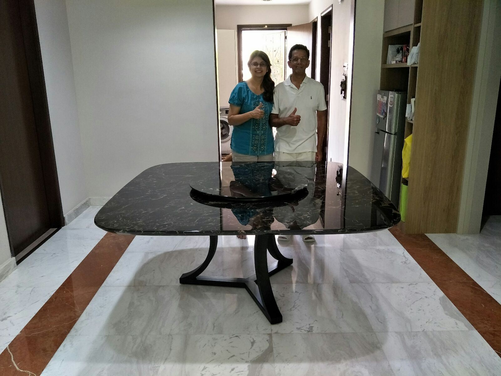 Black Marble Dining Table From China - Portoro Gold Marble