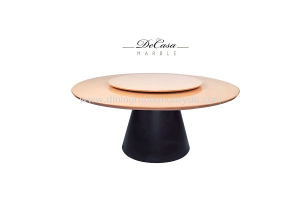 Round Marble Dining Table - Mocha Cream Marble