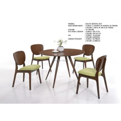 OLIVE 1050MM DINING SET (1+4) MALAYSIA