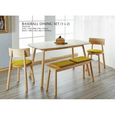 BASEBALL DINING TABLE + 1PC BASEBALL BENCH + 2PCS BASEBALL DINING CHAIR MALAYSIA