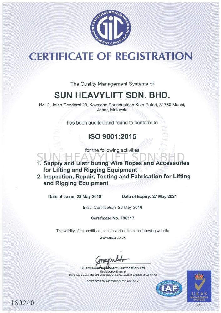 SUN HEAVYLIFT WAS ESTABLISH AND COMPLY WITH ISO 9001:2015 ON MAY 2018