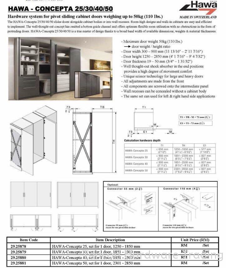 Hawa Concepta ( Folding Door)  Concepta Slide Door Fitting Hafele Kitchen Solution