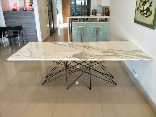 Rectangular White Marble Dining Table - Calacatta Marble