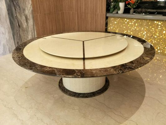 12 Seater Marble Dining Table - Honey Beige & Dark Emparador Marble