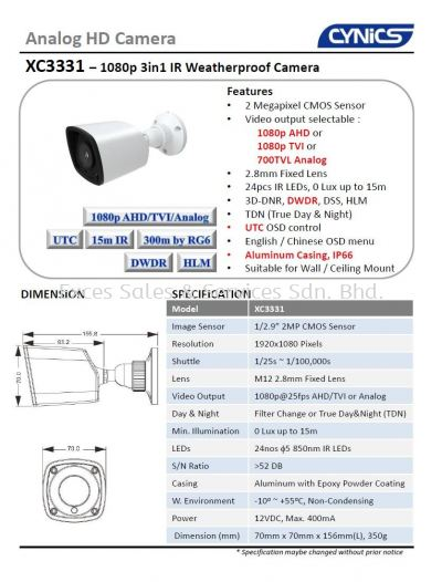 Cynics 2MP 3 In 1 IR Bullet Camera XC3331