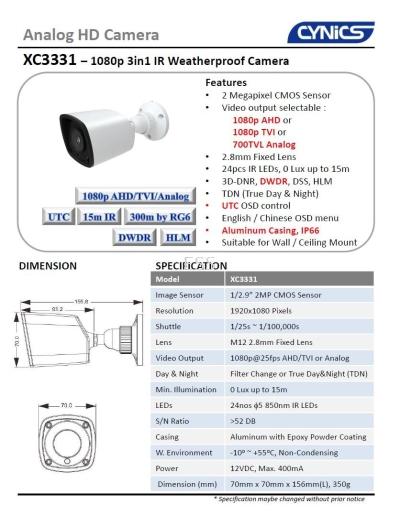 Cynics 2MP 3 In 1 IR Bullet Camera XC3331