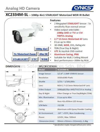 Cynics 2MP 4 In 1 Motorized IR Bullet Camera XC2334M-SL