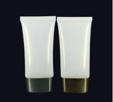D35 - PEO006 - 50ml Plastic Pearl White Oval Tube Chrome Cap 1.0