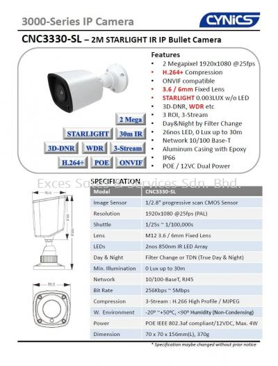 Cynics 2MP IP Starlight IR Bullet Camera CNC3330-SL