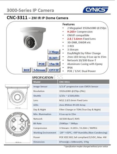 Cynics 2MP IP IR Dome Camera CNC3311