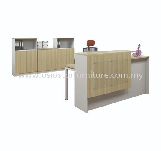 MUPHI RECEPTION OFFICE COUNTER & OFFICE TABLE (L) AB-SCT 1800 SET