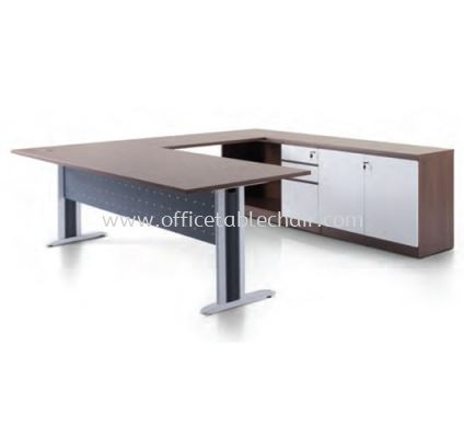 CLAVEN EXECUTIVE L SHAPE MANAGER OFFICE TABLE WITH LOW OFFICE CABINET