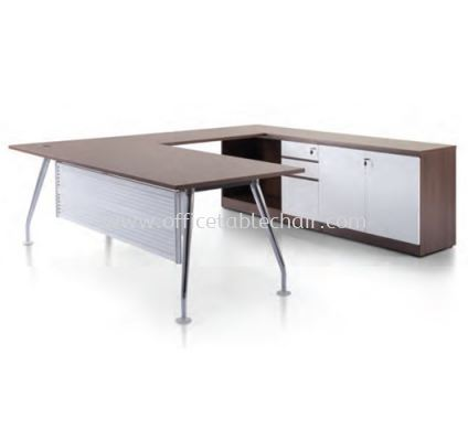 ZIXIA EXECUTIVE L SHAPE MANAGER OFFICE TABLE CHROME LEG WITH LOW OFFICE CABINET