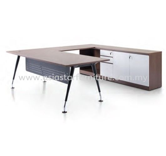 ZANAKO EXECUTIVE L SHAPE MANAGER OFFICE TABLE WITH LOW OFFICE CABINET