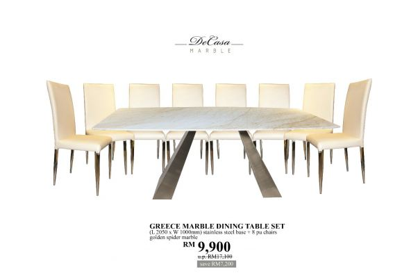White Marble Promo Set For 8 Seater