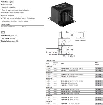 OSRAM HQI-TS 2000W/D/S CABLE BALLAST HQI 2000L-09 240/50 100A196 89120365