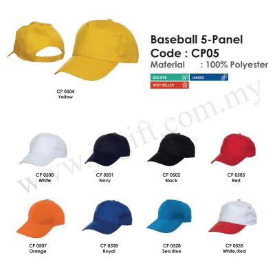 Cap Baseball 5-Panel 100% Polyester CP05