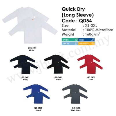 Quick Dry (Long Sleeve) T-Shirt Uniform 100% Microfibre QD54 (Unisex)