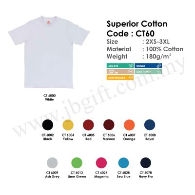 Superior Cotton T-Shirt Uniform 100% Cotton CT60 (Unisex)