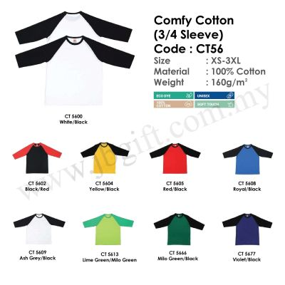 Comfy Cotton T-Shirt Uniform (3 Quarter) 100% Cotton CT56 (Unisex)