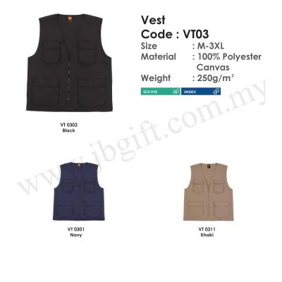 Vest Jacket 100% Polyester Canvas VT03 (Unisex)