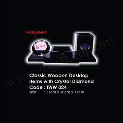 Classic Wooden Desktop Items with Crystal Diamond IWW 024