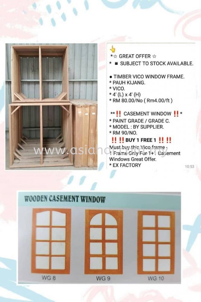 Timber Vico Window Frame and Casement Window Offer