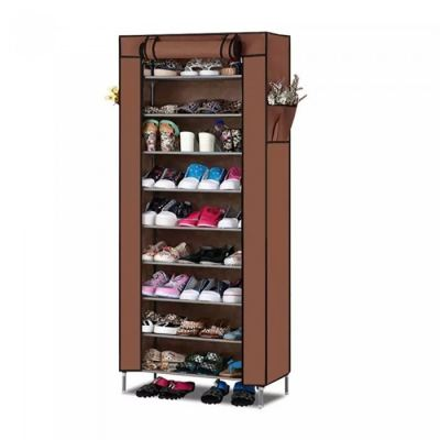 Simple 10 Tier Shoe Rack with Dust Cover