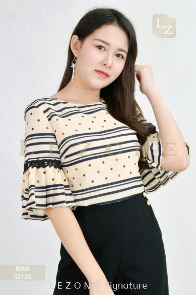 9956 STRIPED PLEATED SLEEVE BLOUSE��25% OFF��