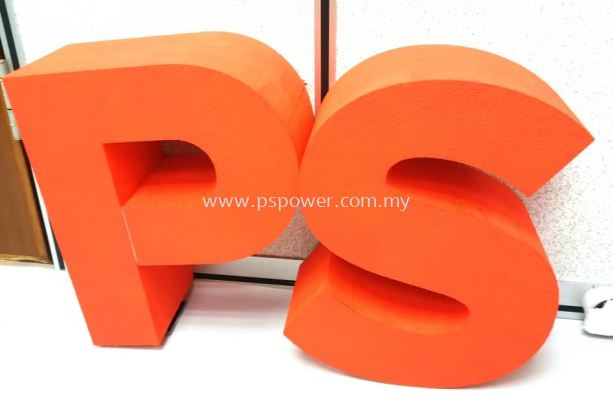 Polystyrene foam with paint lettering