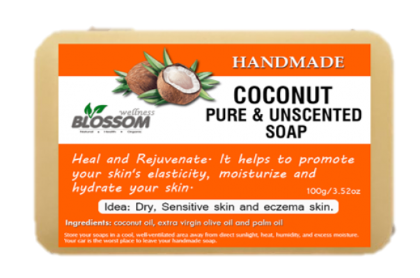Handmade Coconut Pure & Unscented Soap 100g