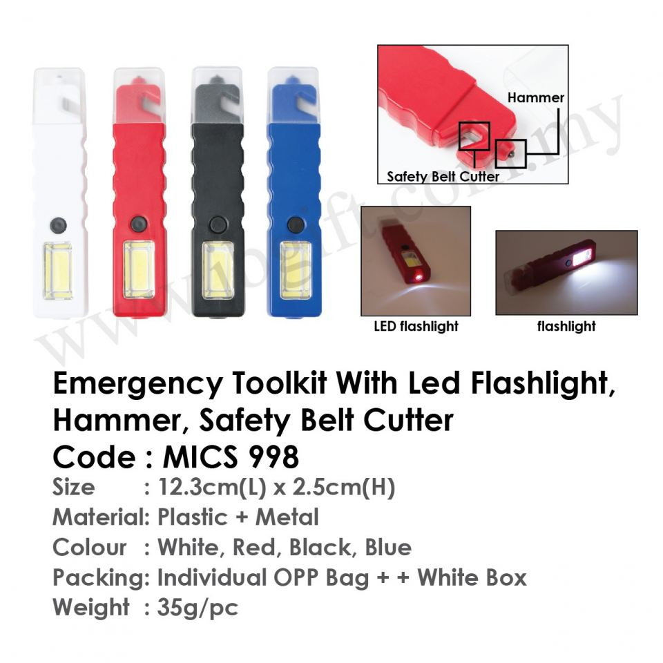 Emergency Toolkit MICS 998 (With Led Flashlight, Hammer, Safety Belt Cutter) Electronic Item