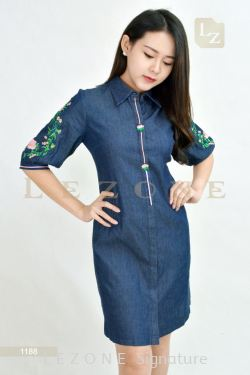 1188 SLEEVE EMBROIDERED DRESS【Online Exclusive Promo 41% OFF】