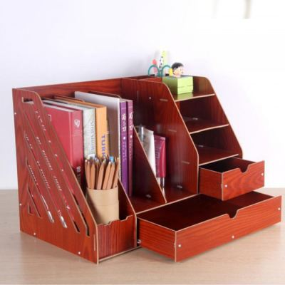 Triple Grid Wooden Office Table Organiser Document Rack with Drawer