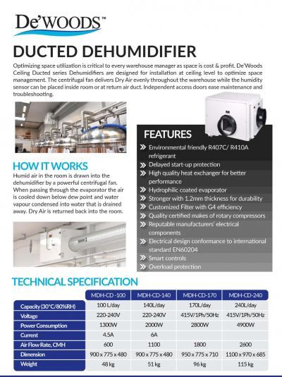 De'WOODS DUCTED (CEILING CONCEALED) DEHUMIDIFIER
