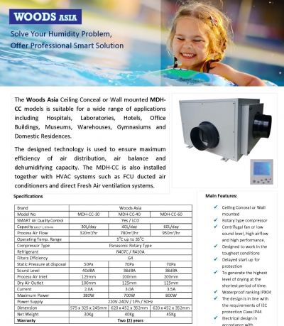 WOODS ASIA CEILING CONCEALED OR WALL MOUNTED DEHUMIDIFIER