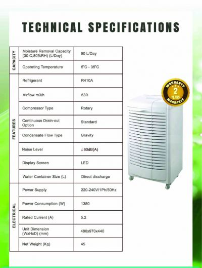 WOODS ASIA MDH-90 (90L/DAY) PORTABLE DEHUMIDIFIER