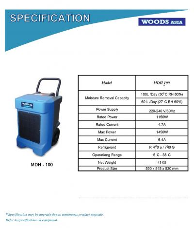 WOODS ASIA MDH-100 (100L/DAY) PORTABLE DEHUMIDIFIER