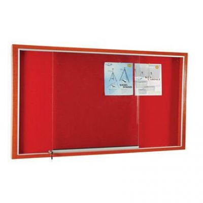 Wooden Frame Cabinet Notice Board With Velvet Board