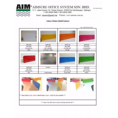 Acrylic panel colour chart