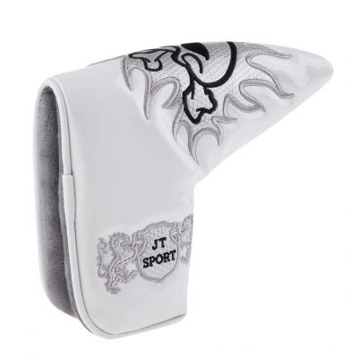 Homyl Golf Blade Putter Head Cover Headcover & Cool Funny Skull Pattern, Magnetic Bar Closure White