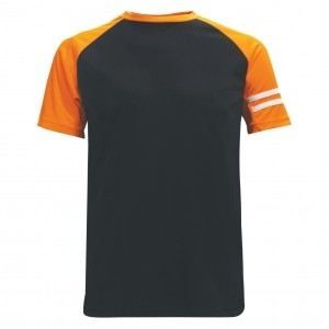 Lefonse Microfiber Cut & Sew Round Neck (RM02-01) BLACK with ORANGE