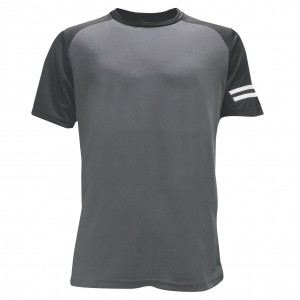 Lefonse Microfiber Cut & Sew Round Neck (RM02-25) DARK GREY with BLACK