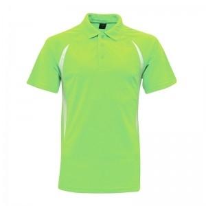 Lefonse Microfiber Cut & Sew Colar T-Shirt (M17-24) FLUORESCENT GREEN with WHITE