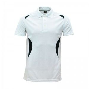 Lefonse Microfiber Cut & Sew Collar T-Shirt ( M19-00 ) WHITE with BLACK